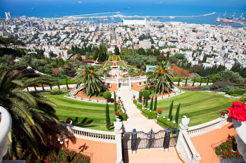 Haifa from beautiful Bahai Gardens Israel
