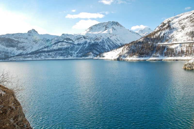 Lake Lac du Chevril in Tarentaise Valley in winter, Paradiski skiing region, France