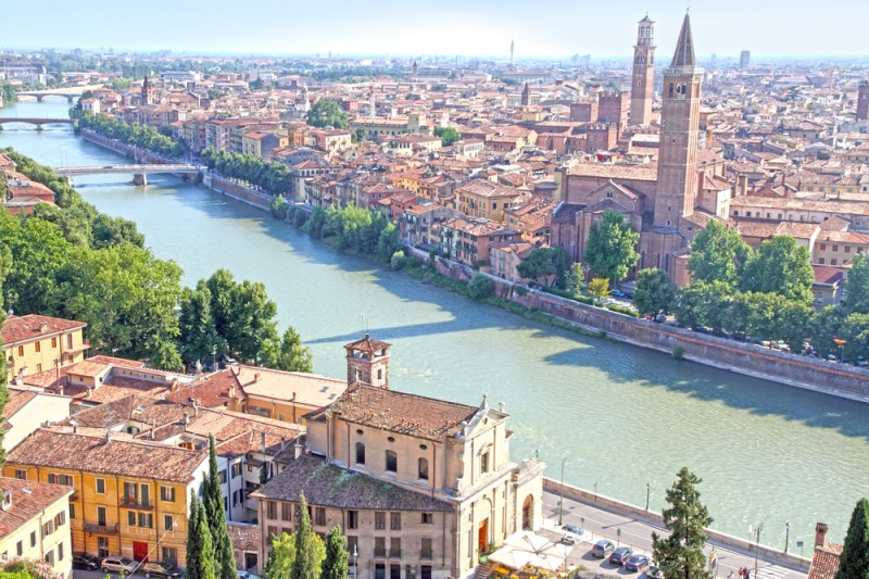 The old city of Verona from the castle Veneto Italy