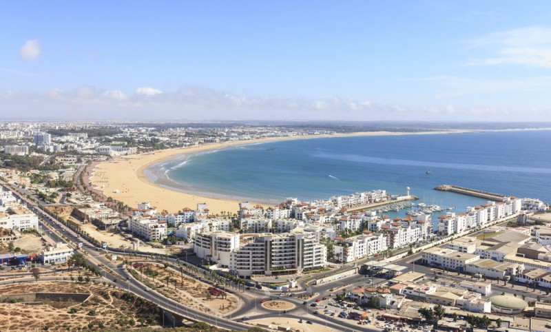 Morocco, view the beach and the marina of Agadir